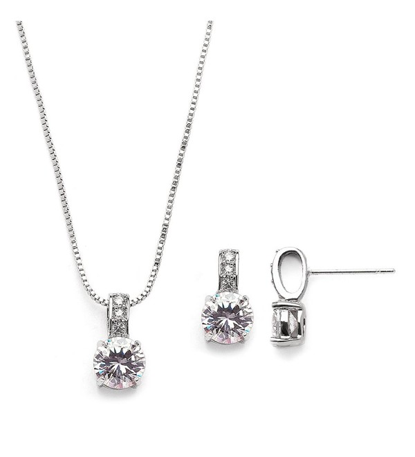 Mariell Delicate Round-Cut Cubic Zirconia Necklace Earrings Set for Brides- Bridesmaids or Everyday Wear - CD12JGUEVDX