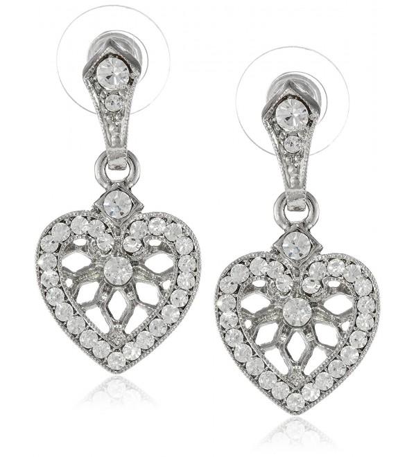 "1928 Jewelry ""Heart of Hearts"" Heart Post Earrings - Silver/Crystal - CS11F0D6QG1"