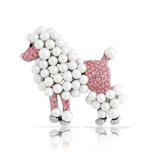 Bling Jewelry Poodle Pink Crystal Simulated Pearl Pin Rhodium Plated - CF118L0HI99