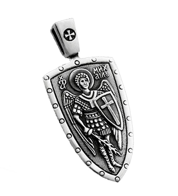 ARCHANGEL SAINT MICHAEL CROSS SHIELD STERLING SILVER MEDAL RUSSIAN ORTHODOX PENDANT NECKLACE - CB115F4QU6B