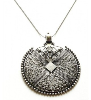 Sansar India German Silver Big Round Pendant Indian Necklace Jewelry for Girls and Women - CP12IZ85JWJ