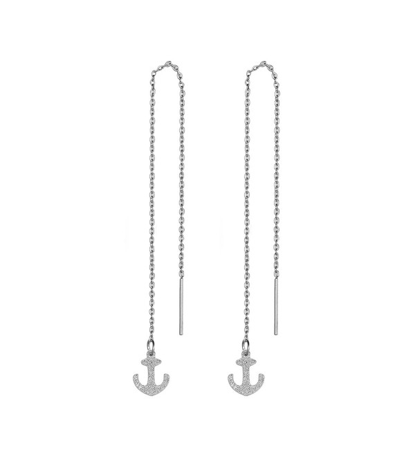 Stainless Steel Threader Pull Through Chain Dangle Drop Earrings for Women - Anchor - CI182Z5L9L0