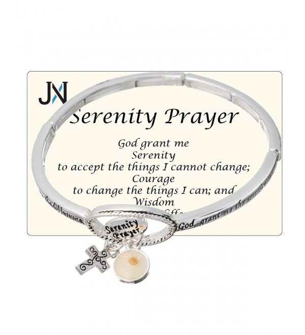 Serenity Prayer Engraved Cross & Mustard Seed Charm Stretch Bracelet by Jewelry Nexus - CH11H43UH5L