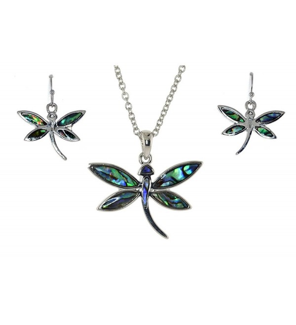 Dragonfly Inspired Abalone Sea Shell Necklace Earrings Set - CB11H4KYU61