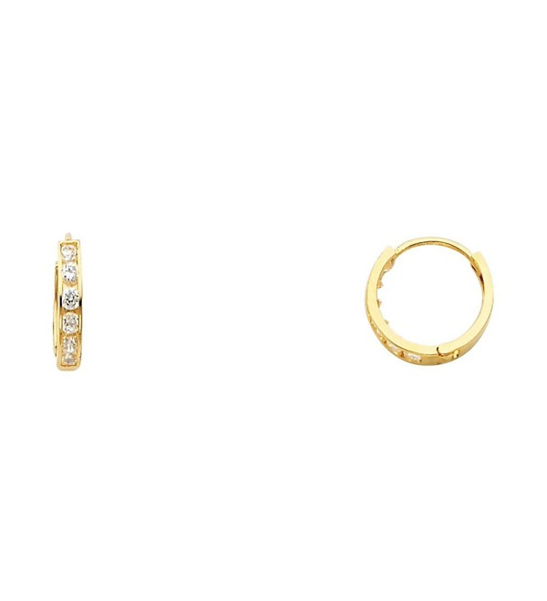 14k Yellow Gold 2mm Thickness CZ Channel Set Hoop Huggie Earrings (11 x 11 mm) - 3 Different Color Available - CJ180YTK4WN