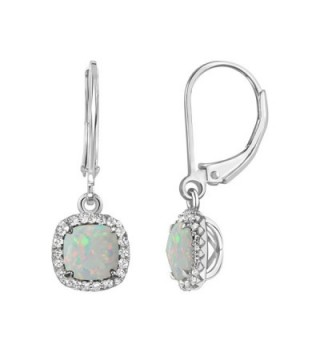 Sterling Checkerboard Sapphire Leverback Earrings - Created Opal - CB12NGE99IG