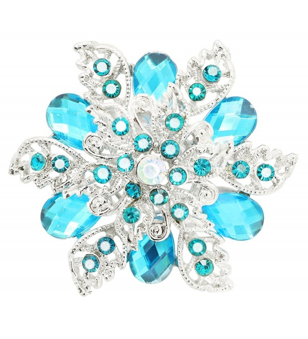 KristLand - Elegant Multilayer Crystal Rhinestone 3D Flower Women Corsage Pin Brooch Pin - deep blue - CV185MQHYU5