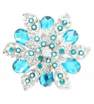 KristLand - Elegant Multilayer Crystal Rhinestone 3D Flower Women Corsage Pin Brooch Pin - deep blue - CV185MQHYU5