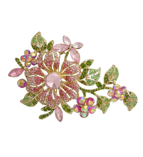 TTjewelry Elegant Austrian Crystal Flower Brooch Pin Romantic Wedding Bride Bridesmaid Rhinestone - Pink - C5125JOTRGL