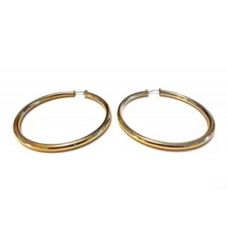 Gold Shiny Hoops Plated Earrings in Women's Hoop Earrings