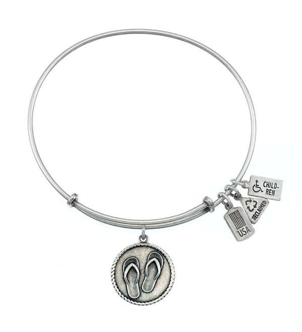 Wind and Fire Flip Flops Charm Bangle Bracelet (Antique Silvertone Finish) - CY11WT7N187