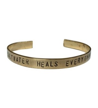 "Saltwater Heals Everything Hand Stamped 1/4"" Brass Cuff Bracelet - C912N3YCPX7"