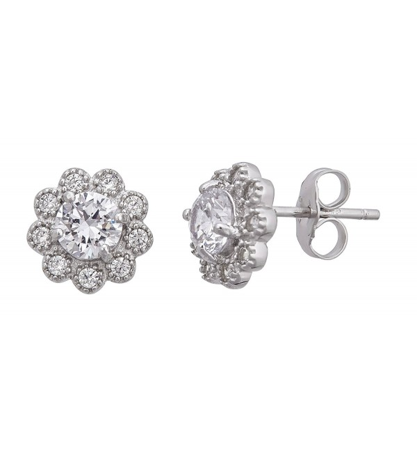 Sterling Silver Cubic Zirconia 9mm Round Flower Stud Earrings - CL12LPF4TST