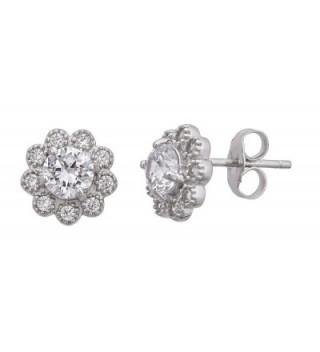 Sterling Silver Cubic Zirconia 9mm Round Flower Stud Earrings - CL12LPF4TST