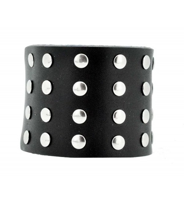 Unisex Black Brown Metal Spike Studded Punk Rock Biker Wide Strap Leather Bracelet - CZ11ETB00RV