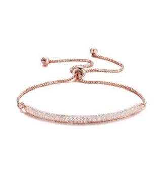 "DIFINES Redbarry Micro CZ 18k Gold Plated Bar Shape Adjustable Charm Bracelet for Women Girls 9.05"" - Rose - CK12MY46ZQB"