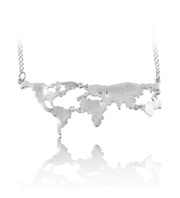 World Continents Pendant World Map Necklace - silver - C212MDJD2M5
