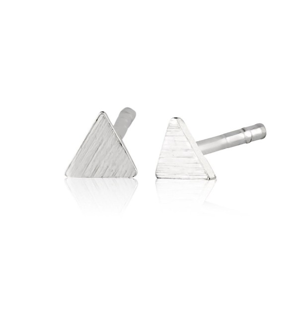 925 Sterling Silver Matte Finish Square- Triangle or Circle Modern Geometric Stud Earrings- 4-6mm - CH17Z2D4TUE