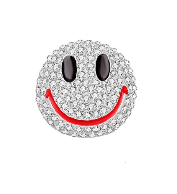 MANZHEN Lovely Cute Crystal Happy Face Smiley Emoji Brooch Pins - silver - CT185DUHSD8