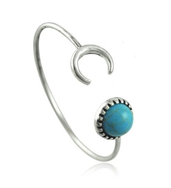 ElfKat ~ Valentine's Day Crescent Moon Faux Turquoise & Tibetan Silver Thin Cuff Bracelet Wicca Boho Style Gift - CN183N47YMH