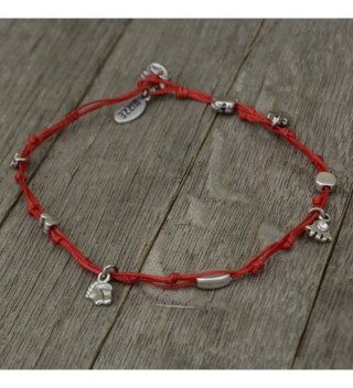 Waterproof Red Wax Cord Anklet with Evil Eye & Good Luck Charms for Women -  11 inches length - C3119BHUTGF