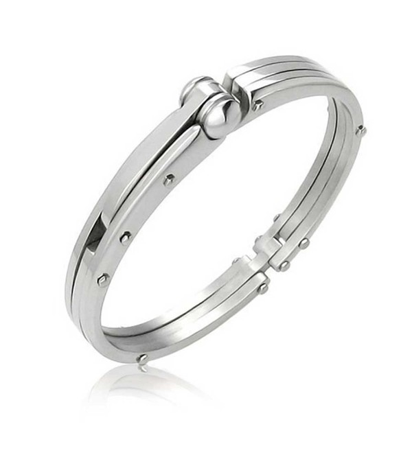 Bling Jewelry Secret Shades Obsession Handcuff Steel Bangle Bracelet - CI11F2S6DLH