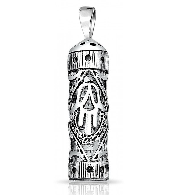 Sterling Silver Hamsa Hand of God Cut Out Parchment Mezuzah Pendant - CF11Q5C0BE9