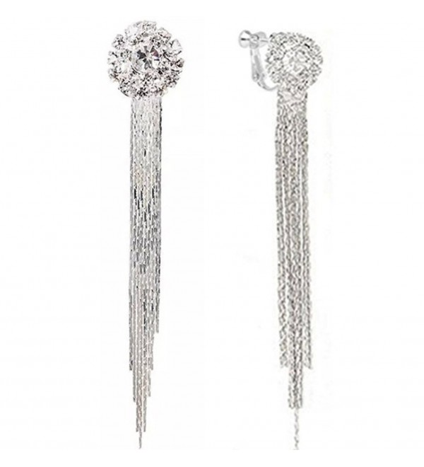 Clip On Earrings White Gold Plated Fashion Tassel Unique Cocktail Earrings Gift - CC1887O3E0R