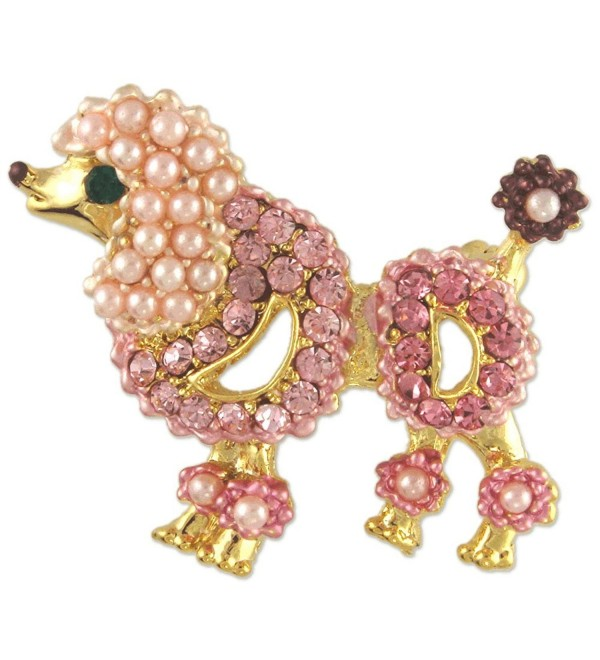 Women's Crystal Pink Pearl Poodle Dog Brooch Pin Made with Swarovski  Elements - CX11QGES4AN