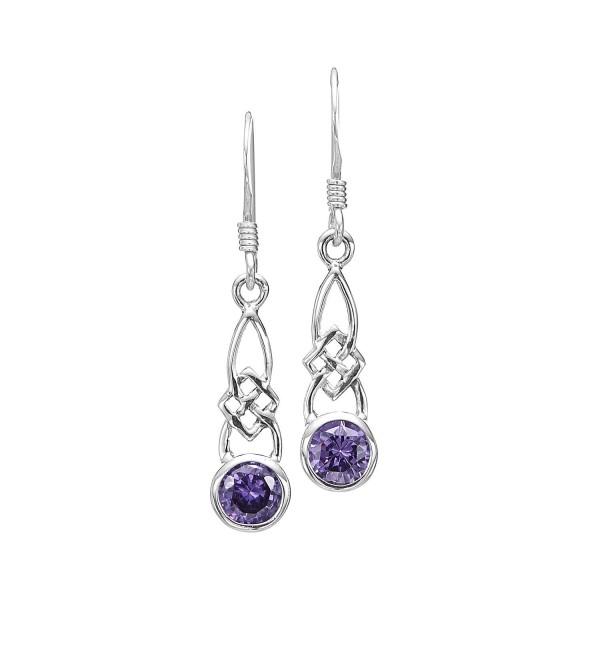 925 Sterling Silver Celtic Knot Purple Amethyst CZ Dangle Earrings 20 mm - Nickel Free - CI11K3Z6IHX