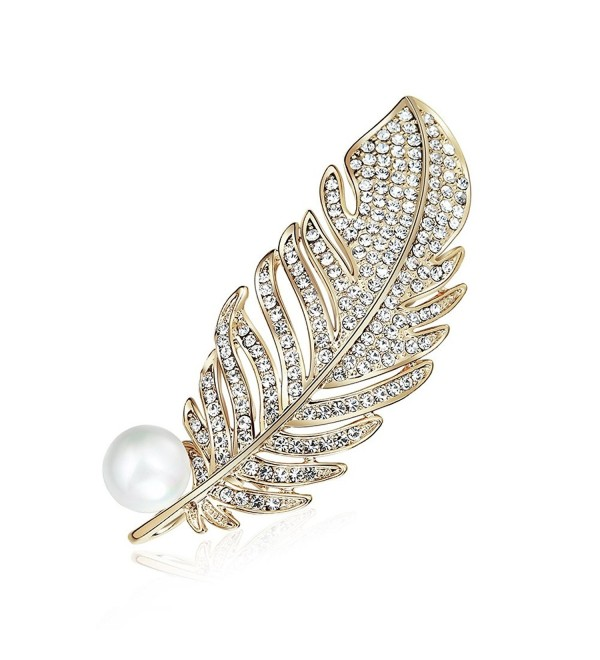 Womens Gold Plated Vintage Gorgeous Peacock Feather Rhinestone Crystal Faux Pearl Bead Brooch Pin - CX187L0RIY6