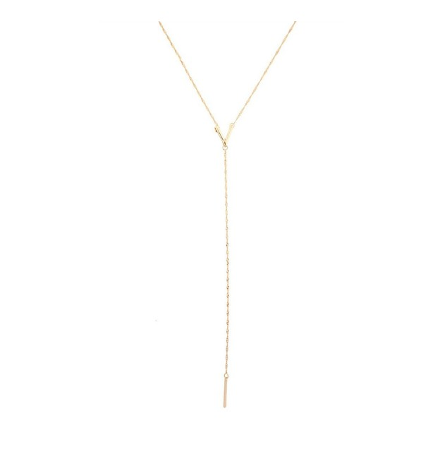 Lux Accessories Clean V Pendant Bar Sexy Y Necklace - CK11WNX4I3T