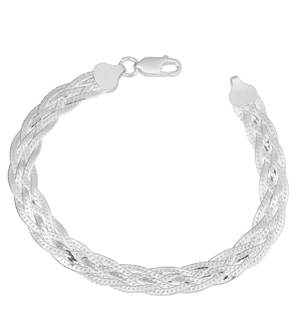 Sterling Silver High Polished Braided 7.5mm Herringbone Bracelet (7.5 inch) - CI11VJ217MF