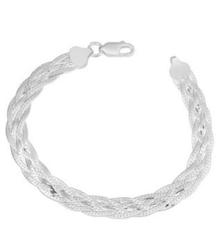 Sterling Silver High Polished Braided 7.5mm Herringbone Bracelet (7.5 inch) - CI11VJ217MF