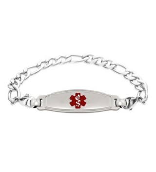 Divoti Custom Engraved Elegant Contempo Medical Alert Bracelet -Figaro Stainless -Red - CQ188S2DW6I