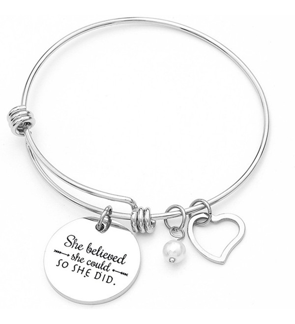 Stainless Steel Inspirational Encouragement Bracelet- She Believed She Could So She Did - Silver - CM189QDO05Y