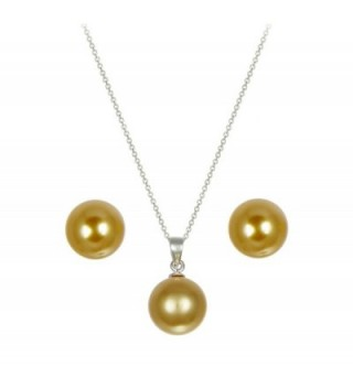 10mm Champagne Simulated Pearl Round Ball Sterling Silver Pendant & Earring 18in Chain - CM110M82VBN
