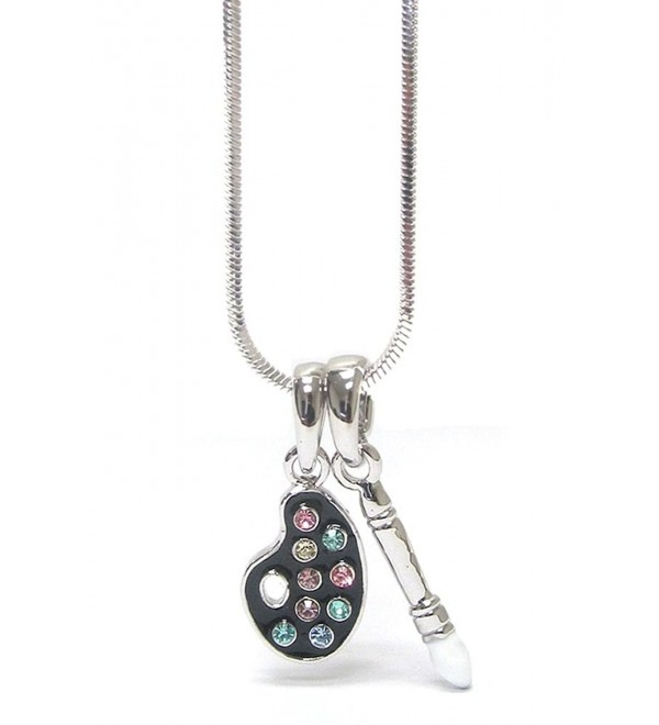 Lola Bella Gifts Crystal Makeup Artist Palette Necklace with Gift Box - CP12KFRGGQB
