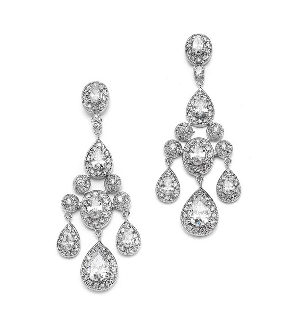 Mariell Vintage Glam CZ Wedding or Pageant Chandelier Earrings with Oval-Cut Gems & Pear-Shaped Dangles - CP12CJB78M7
