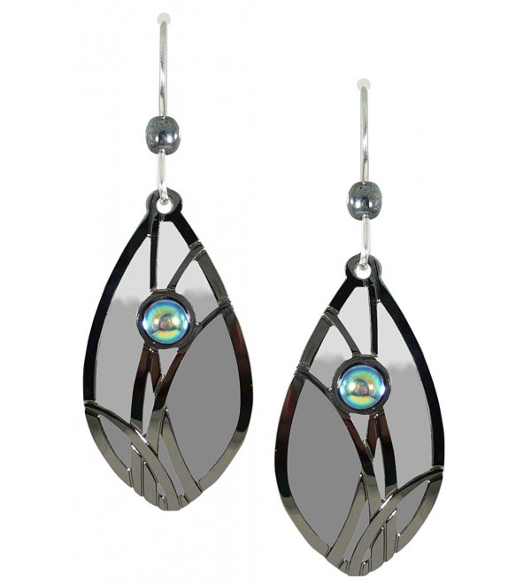 Adajio by Sienna Sky Slate Gray White Almond Shape Earrings 7551 - CL11FMRS9U1