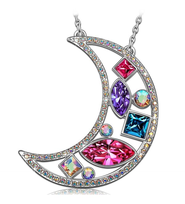 "KATE LYNN ""Crescent"" Gifts for Women and Girls Women Jewelry Pendant Necklace Made with Swarovski Crystals - CY186RDNMM8"