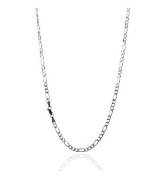 925 Sterling Silver 3.80 mm Beveled Diamond-Cut Figaro Chain Necklace with Lobster Clasp-RHODIUM FINISH - C612ODNAP37