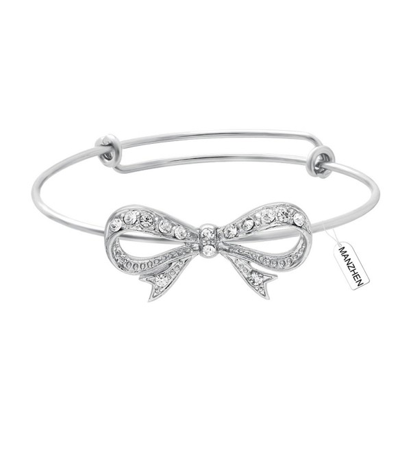 MANZHEN New Fashion 3 Colors Expandable Bowknot Cuff Bangle Bracelets Bridesmaid Gift - Silver - C812MXXV6K8