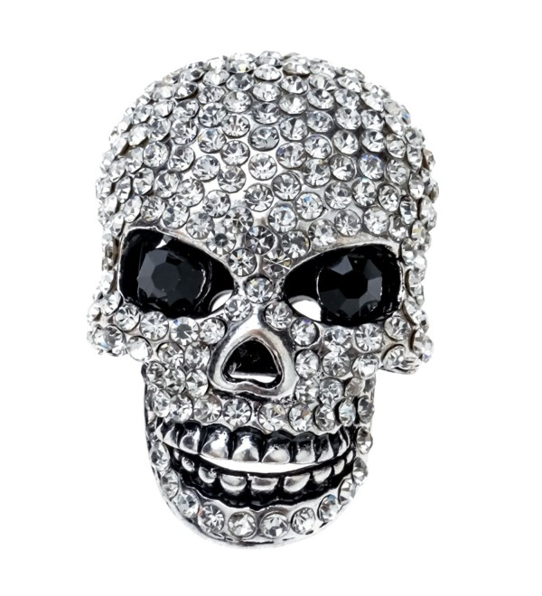 Szxc Jewelry Women's Crystal Skull Pin Brooch Biker Jewelry - silver - CO17YKMT73Z