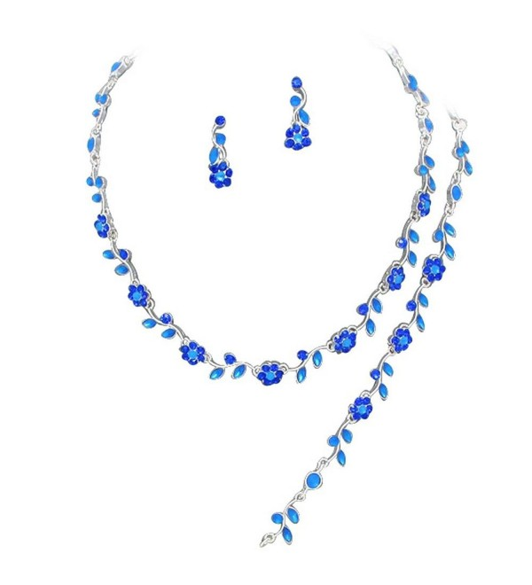 Affordable Royal Blue Color Crystal Bridesmaid 3 Bridal Necklace- Earring- Bracelet Set H1 - CK11P9I1GZN