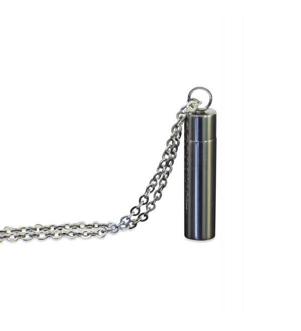 Silver Modern Prayer Capsule Cremation Ashes Memorial Urn Stash Vial Pendant Necklace - Stainless Steel - CO11ZC8SOG9