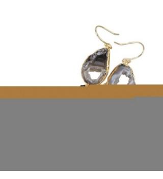 JAB 1 Pair Gold Plated Irregular Natural Druzy Slice Fish Hook Drop Dangle Tassel Earrings - Black - CO17Z768YS3