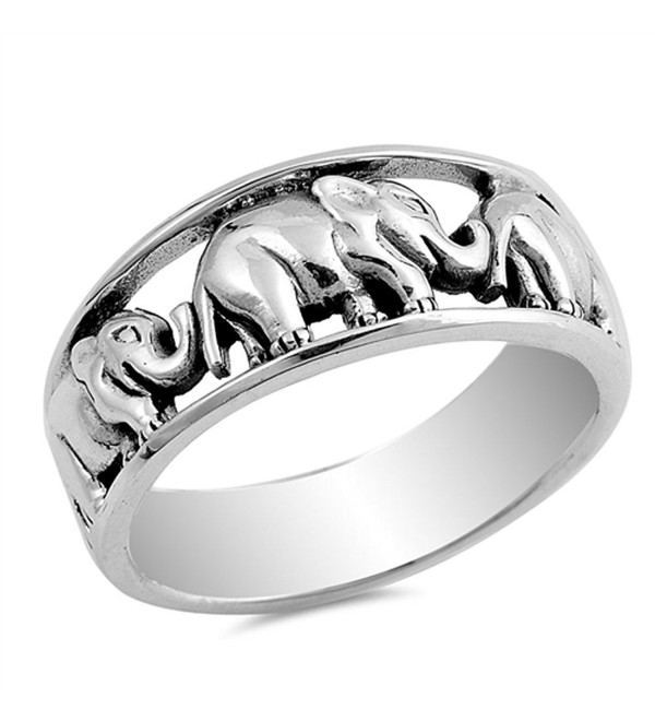 Elephant Animal Ring New .925 Sterling Silver Band Sizes 6-10 - C412HBSJUNN
