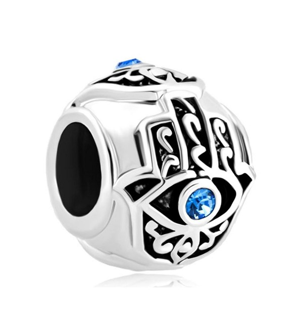 Mel Crouch Blue Crystal Evil Eyes Charms Round/Heart Hamsa Hand of Fatima Charms Beads For Bracelets - CY182KU8XML