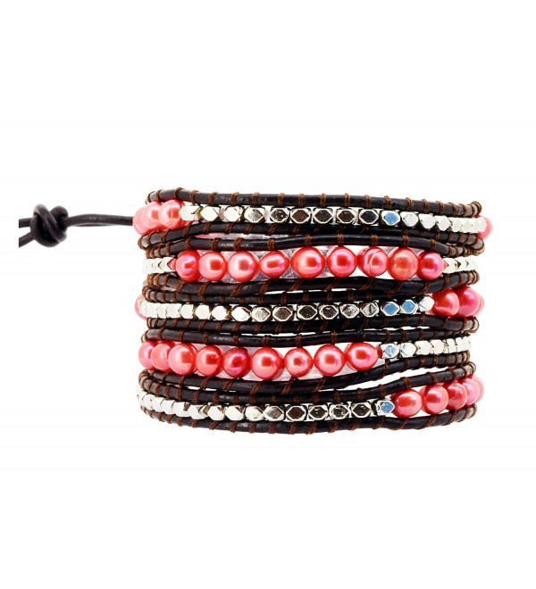 Womens Long Beaded Dyed Freshwater Cultured Pearl Wrap Around Leather Bracelet - C2126OFJ6BZ